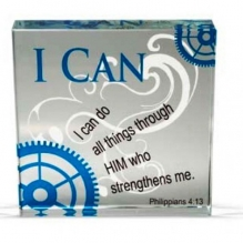 "Inspired Glass ""I Can"" Tile 3 inch"