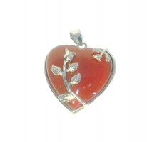 Red Agate Heart Pendant